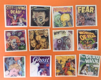 "1 dozen SPOOKY Comic Book Covers at 2"" square"