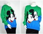 90s 80s blue green color block Mickey Minnie Mouse disney woven sweater