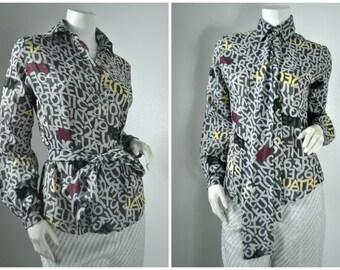 80s 70s 60s letter number novelty print secretary blouse
