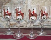 Fox hunt, horse and hound hand painted wine glasses.  Set of 4