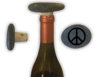 Engraved Symbol Wine Stopper on Natural Stone  - 6950 Peace Sign