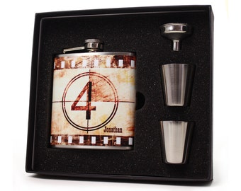Personalized flask for men and women // Vintage movie film flask gift set with shot cups, funnel and gift box