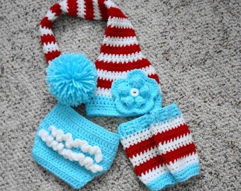Baby Set - Dr. Seuss Stocking Hat/Diaper Cover/Leggings (fits 6-9 months, 9-12 months)