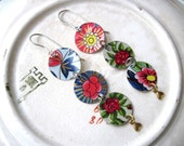 Flower Triple Disc Tin Earrings, Vintage Tins, Mixed Tins, Reds, Blues, Greens, Light Weight
