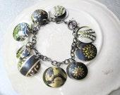 Black and Gold Tin Charm Bracelet-Mixed Tea Tins-10th Anniversary