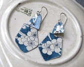 Blue and White Vintage Tin Earrings-Asian Style -Lightweight-Sterling Silver Ear Wires