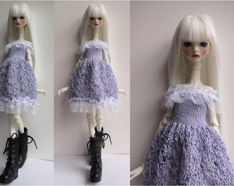 Doll-Chateau KID: Knitted Off-Shoulder Full-Skirted Lacey Dress