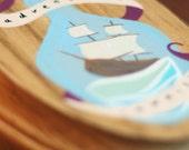 Adventure awaits - hand painted nautical plaque