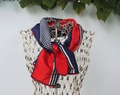 Long Polka Dot Scarf, Red, White, And Blue Patriotic Scarf, Vintage Striped Rectangle Scarf by Echo