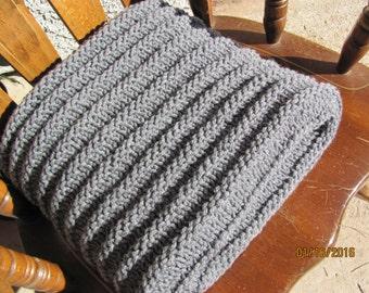 Rib Knit Afghan Gray