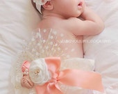 Vintage style Newborn Ivory,Peach and Gold ChiffonTutu Bloomers/Diaper Cover with Headband and Removable Sash,Baby Girl Gift Set, Photo Prop