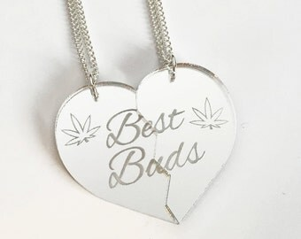 Best Buds Necklace Set - Silver Heart
