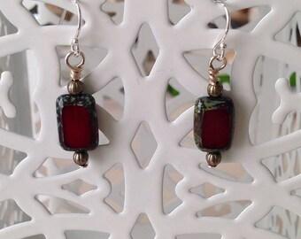 Dark Red Czech Glass Earrings