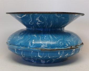 Vintage Enamelaware Spittoon - Blue Swirl Enamelware Spitton - Vintage Cuspidor