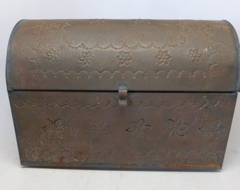 Vintage Mexican Punched Tin Box