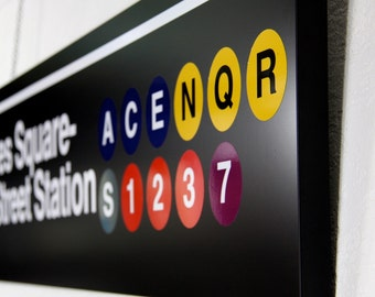 times square new york subway underground train sign wall hanging art industrial signage