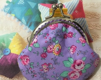 Handmade Small Coin Purse - Purple Floral Rose (ONE Only/P17026)