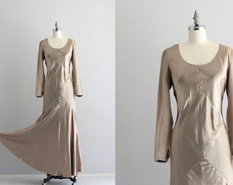 Long Sleeve Maxi Dress . Metallic Gold Dress . Long Evening Dress