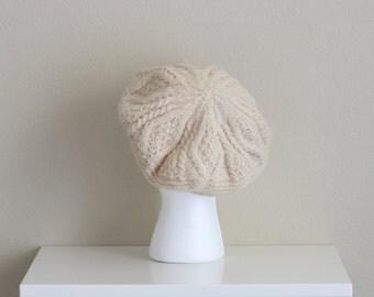 Vintage Knit Tam . Irish Wool Hat . Knit Beret . Winter Hat