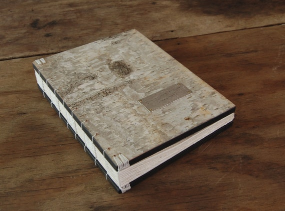 Rustic Guest Book large handmade journal wood book white birch bark- Cabin Guest Book- wedding - made to order