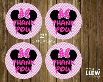 "Minnie Mouse Hot Pink and Black Thank You 2"" Round Stickers"