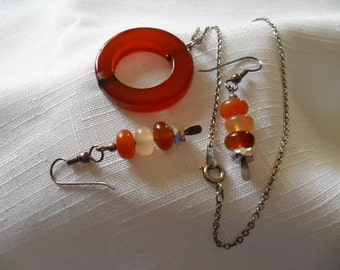 Vintage Carnelian Necklace and Earrings
