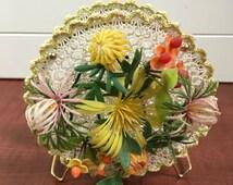 Vintage Plastic Doily Napkin Holder with Plastic Flowers- retro kitchen, napkin holder, kitsch, kitschy kitchen, floral napkin holder