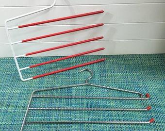 Lot of 2 Vintage White Enamel and Chrome Neck Tie or Belt Rack Hanger with Red Rubber Trim- vintage tie rack, tie rack, belt holder, closet