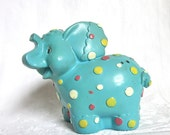 Elephant Bank Aqua Polka Dot Vintage Elephants Collectable Figurine Circus Nursery Decor 1960s 1970s Hard Plastic