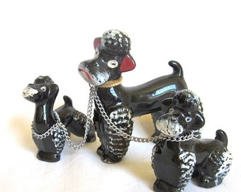 Poodle Figurines Black Dogs Collectible Poodles Mom Dog with Two Puppies 1950s 1960s