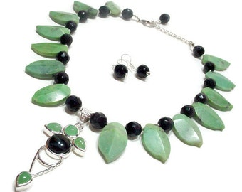 Green Jade Statement Necklace, Nature Inspired Necklace, Leaf Artisan Necklace, Gemstone Statement Necklace, Fringe Necklace, Summer Jewelry