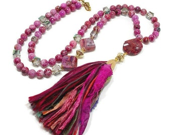 Long Boho Tassel Necklace, Beaded Bohemian Necklace, Long Statement Necklace, Handmade Sari Silk Tassel, Long Chunky Necklace, Fuchsia