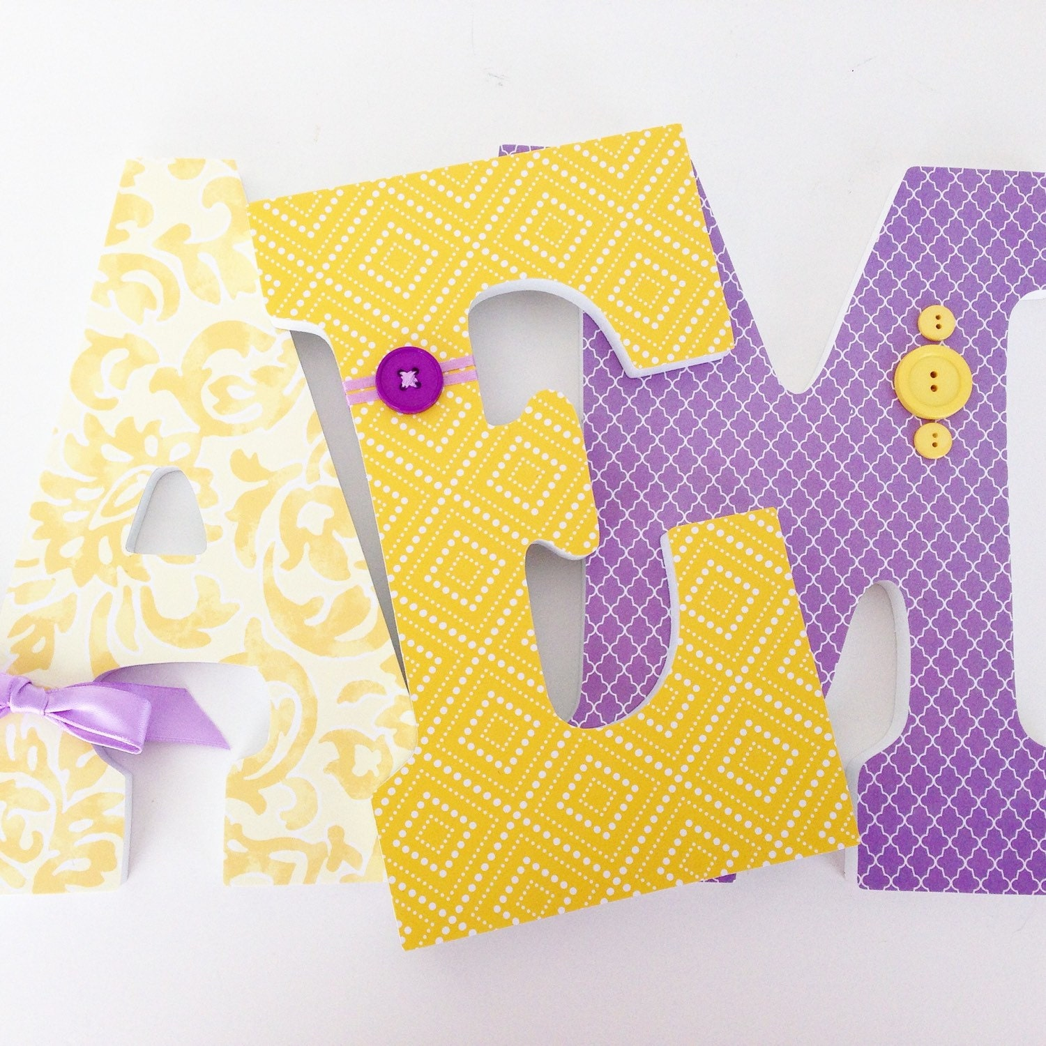 Baby name letters lavender and yellow nursery decor purple for Baby name letters decoration