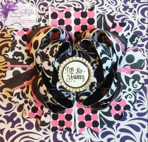 pink boutique bow, character bow,stacked bow, baby bow, hair bow, accessories, hair clip, princess bow , pink bow, black bow, layered bow