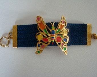 Louis Féraud enamelled butterfly bracelet