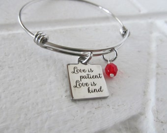 "Love Charm Bracelet- ""Love is patient Love is kind"" laser etched charm with an accent bead in your choice of colors"