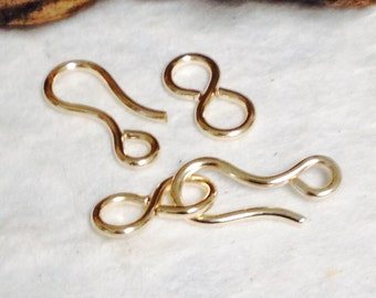 NEW 2 GOLD FILLED Hook and Eye Jewelry Clasps - Clean Line Contemporary Gold Hook and Eye Clasp Sets - T29