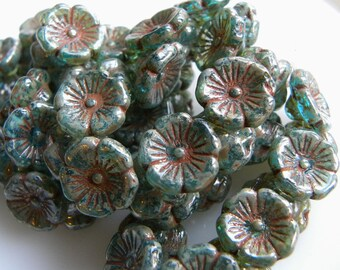 Flower Beads, Aqua with a Picasso Finish, Garland Flowers, Flower Buttons, Czech Pressed Glass, 12 x 7mm, Full Strand