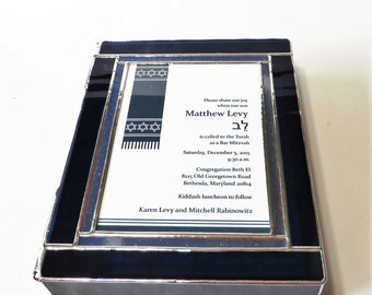 "Stained Glass Bar Mitzvah Invitation Keepsake Gift Box Contemporary Custom Made 7.5""x9.5""x2"""