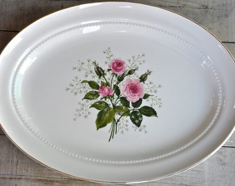 Hall Superior Pink Rose Floral Platter