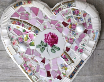 Mosaic Heart with Vintage China - Pink Roses - Pink Hanging Ribbon
