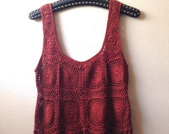 Rust Red Crochet Top