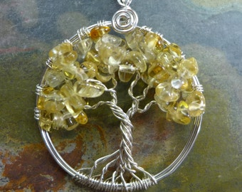 Citrine Tree of Life Pendant with .925 Sterling Silver Chain-Wire Wrapped Citrine Tree of life Necklace, November  Birthstone Tree of Life
