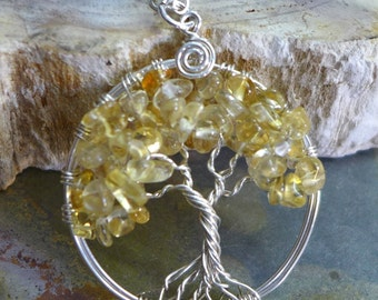 Petite-Mini-Small Citrine Tree of Life Pendant with .925 Sterling Silver Chain-Wire Wrapped Gemstone Tree of life- November  Birthstone