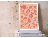 Bloomy art print, Flowers and Leaves by Maedchenwahn