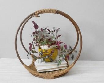 vintage bohemian bentwood macrame basket / magazine rack holder