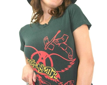 Vintage Aerosmith shirt 1980s Concert Shirt Band Tee Aerosmith Tee Boho Hippie Rocker Boston 1980s Tee Rolling Stones Nirvana Rocker