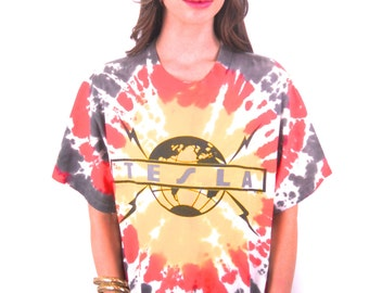Vintage TESLA Shirt 90s Tye Dye 90s Tee 90s shirt Hippie Boho Rocker High Fashion Tee Band Tee Concert shirt Brilliant Colors Rare