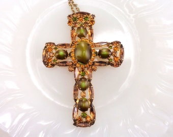 Juliana Large Rhinestone Cross Pendant Necklace Brooch Combination Green Art Glass Orange Rhinestones