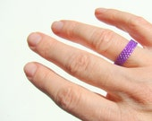 Skinny Purple Bead Ring // Narrow Minimalist Seed Bead Pinky Ring // Narrow Band Peyote Ring For Men or Women // Violet Ring // Man's Ring